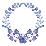 Wreath With Watercolor Berries, Violet Flowers And Leaves Royalty Free Stock Photo