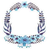 Wreath With Watercolor Blue Flowers and Dark Foliage Stock Photography