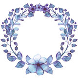 Wreath With Watercolor Blue Leaves, Violet Flowers and Berries Royalty Free Stock Images