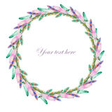 Wreath of watercolor feathers Stock Photo