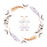 A wreath of the watercolor feathers Stock Image