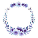 Wreath With Watercolor Gentle Light Blue Flowers. And Berries Royalty Free Stock Image