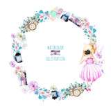 Wreath of watercolor Girl-photographer, retro cameras and floral elements. Hand painted isolated on a white background Stock Photos