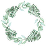 Wreath With Watercolor Green Fern and Leaves. Wreath With Watercolor Light Green Fern and Leaves Stock Image