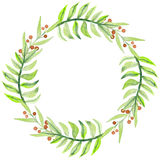 Wreath With Watercolor Green Leaves And Red Berries Royalty Free Stock Image