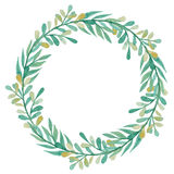 Wreath With Watercolor Green and Yellow Leaves Royalty Free Stock Photo