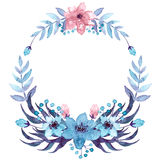 Wreath With Watercolor Light Blue And Pink Flowers. Wreath With Watercolor Dark Ferns, Light Blue And Pink Flowers Royalty Free Stock Photography