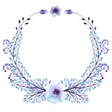 Wreath With Watercolor Little Light Blue Flowers. And Buds stock illustration