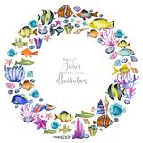 Wreath with watercolor oceanic fishes, corals and seaweeds. Hand painted on a white background vector illustration
