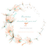 Wreath with the watercolor pink and mint air flowers and dandelion fuzzies, wedding design, greeting card or invitation Stock Images