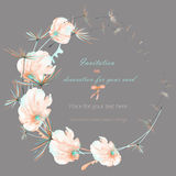 Wreath with the watercolor pink and mint air flowers and dandelion fuzzies, wedding design, greeting card or invitation Stock Photography