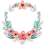 Wreath with Watercolor Red Tropical Flowers, Berries and Green Leaves Royalty Free Stock Image