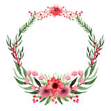 Wreath With Watercolor Wild Red Flowers And Green Leaves Royalty Free Stock Image