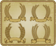 Wreath of wheat, set. Vector illustration. Stock Images