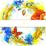 Wreath of wheat and wildflower. watercolor illustration Stock Photos