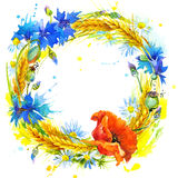 Wreath of wheat and wildflower. watercolor illustration Royalty Free Stock Photography