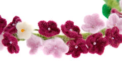 Wreath of white roses and purple little flowers Stock Images