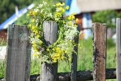 Wreath of wild flowers stock photos