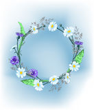 A wreath of wild flowers, daisies, cornflowers, grass, with butterflies. Vector. Stock Photo