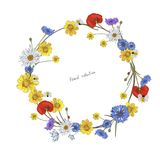 Wreath of wild flowers stock photo