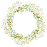 Wreath of wild flowers with leaves. A floral round frame with a place for your text. Suitable for greeting cards, wedding invitati. Ons, promotional leaflets stock illustration