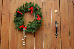 Wreath on wood. Christmas wreath on wooden gate Stock Images