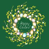 Wreath from young willow branches. The composition is decorated with beautiful Easter eggs. The symbol of spring and Easter. stock illustration