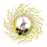 Wreath from young willow branches. The composition is decorated with beautiful Easter eggs. Inside is a rabbit. Symbol of spring vector illustration