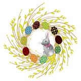 Wreath from young willow branches. The composition is decorated with beautiful Easter eggs. Inside is a rabbit. Symbol of spring royalty free illustration