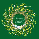 Wreath from young willow branches. The composition is decorated with beautiful Easter eggs. The symbol of spring and Easter. vector illustration
