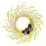 Wreath from young willow branches. The composition is decorated with beautiful Easter eggs. The symbol of spring and Easter. royalty free illustration