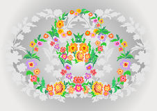 Wreaths from abstract flowers on floral background Royalty Free Stock Image