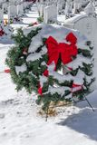 Wreaths Across America. On a Snowy day at Fort Logan National cemetery in Denver, Colorado USA stock images