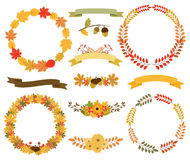 Wreaths of autumn leaves. Round frames, ribbon banners Stock Image