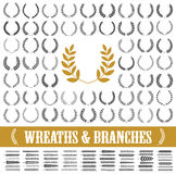55 wreaths and branches set. Vector. 55 wreaths and branches set. Vector illustration Royalty Free Stock Image