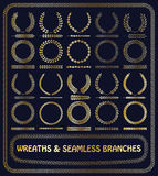 55 wreaths and branches set. Vector. Royalty Free Stock Images