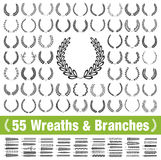 55 wreaths and branches set. Vector. 55 wreaths and branches set. Vector illustration Stock Photography