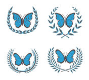 Wreaths & butterfly Stock Images