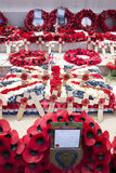 WREATHS AT THE CEMETERY IN BAYEUX, NORMANDY, FRANCE royalty free stock photo