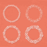 Wreaths Collection. Round handdrawn wreaths on texturized vintage background. Collection of clip art vector bouquets. Romantic wreath with copyspace for your Stock Photo