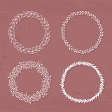 Wreaths Collection. Round handdrawn wreaths on texturized vintage background. Collection of clip art vector bouquets. Romantic wreath with copyspace for your Royalty Free Stock Photos