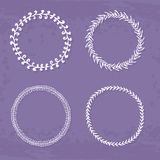 Wreaths Collection. Round handdrawn wreaths on texturized vintage background. Collection of clip art vector bouquets. Romantic wreath with copyspace for your Stock Photography