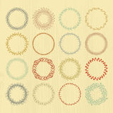 Wreaths Collection. Round handdrawn wreaths on texturized vintage background. Collection of clip art vector bouquets. Romantic wreath with copyspace for your Stock Images
