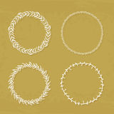 Wreaths Collection. Round handdrawn wreaths on texturized vintage background. Collection of clip art vector bouquets. Romantic wreath with copyspace for your Stock Image