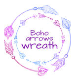 Wreaths of hand drawn arrows. Tribal doodle elements. Vector element for your creativity Stock Photography