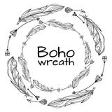 Wreaths of hand drawn feathers with boho pattern Stock Photo