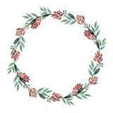 Wreaths made of watercolor leaves. Wreaths made of watercolor leaves and barberries. Procurement for postcards or invitations Royalty Free Stock Photography