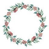 Wreaths made of watercolor leaves. Wreaths made of watercolor leaves and barberries. Procurement for postcards or invitations Stock Image