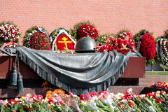 Wreaths at a monument to the Unknown soldier Stock Photo