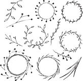 Wreaths. Vector seamless pattern with wreath and leaves. Can be used as wrapping, wallpaper or greeting card decoration Stock Image